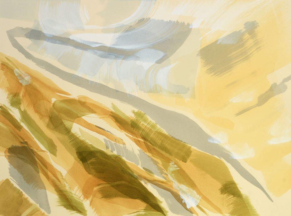 Abstraktes Aquarell in braun, olivgrünen, blaugrauen und hellblauen Tönen auf chamoisfarbenem Bütten