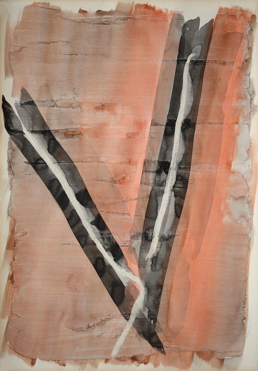 Y-Form formatfüllen in weißer Linie, schwarz umrandet auf rotbraunem Aquarell