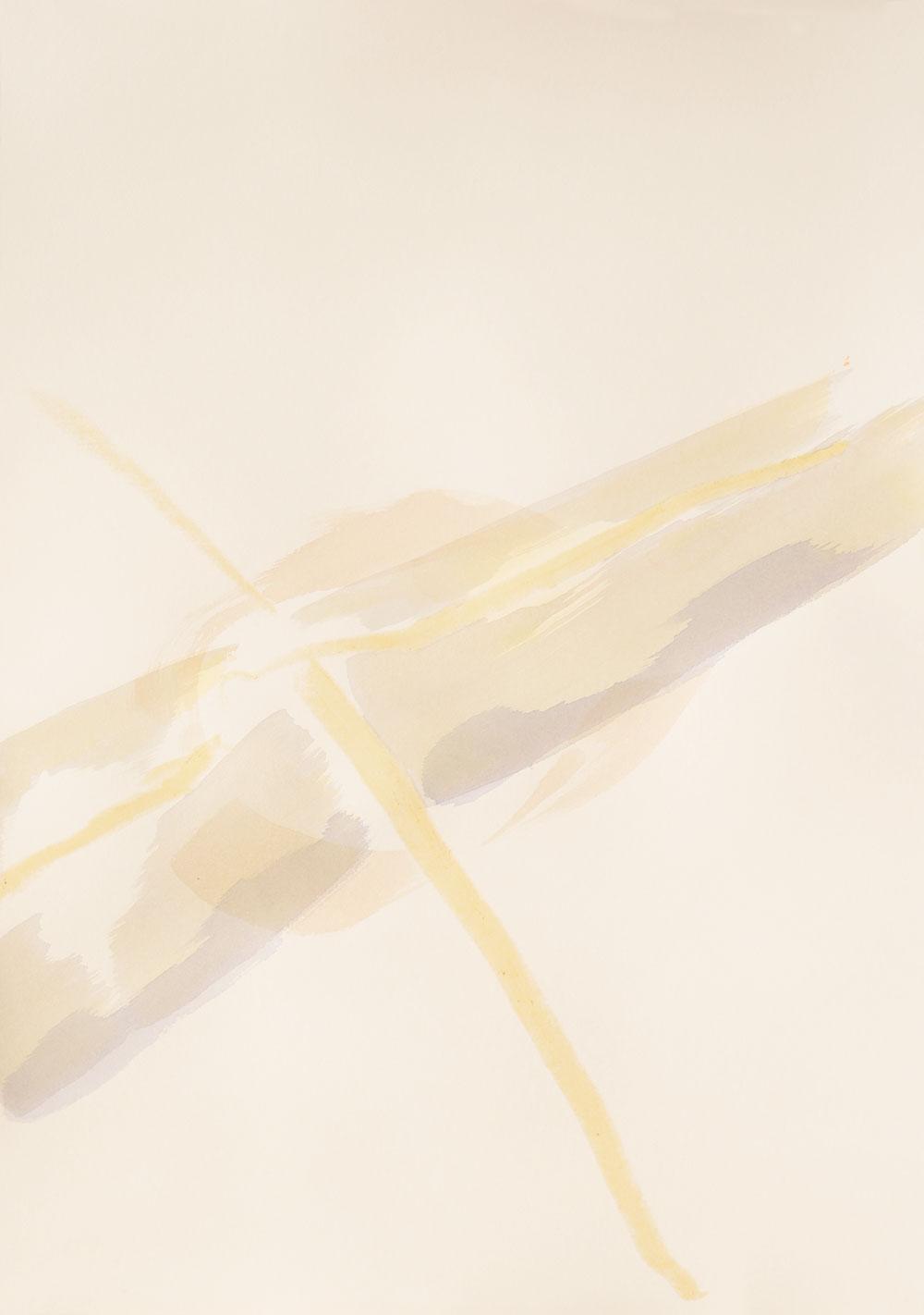 honiggelbe Linienkreuzung, gesäumt von Pinselspuren in Violett und Braun